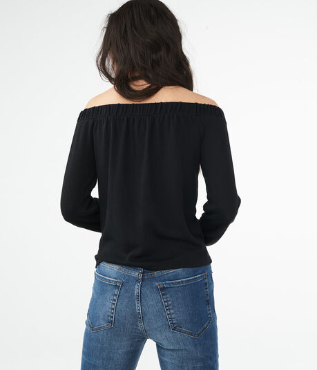 Long Sleeve Tie-Front Off-The-Shoulder Top***
