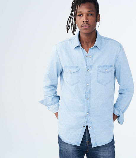 Long Sleeve Light Wash Denim Woven Shirt