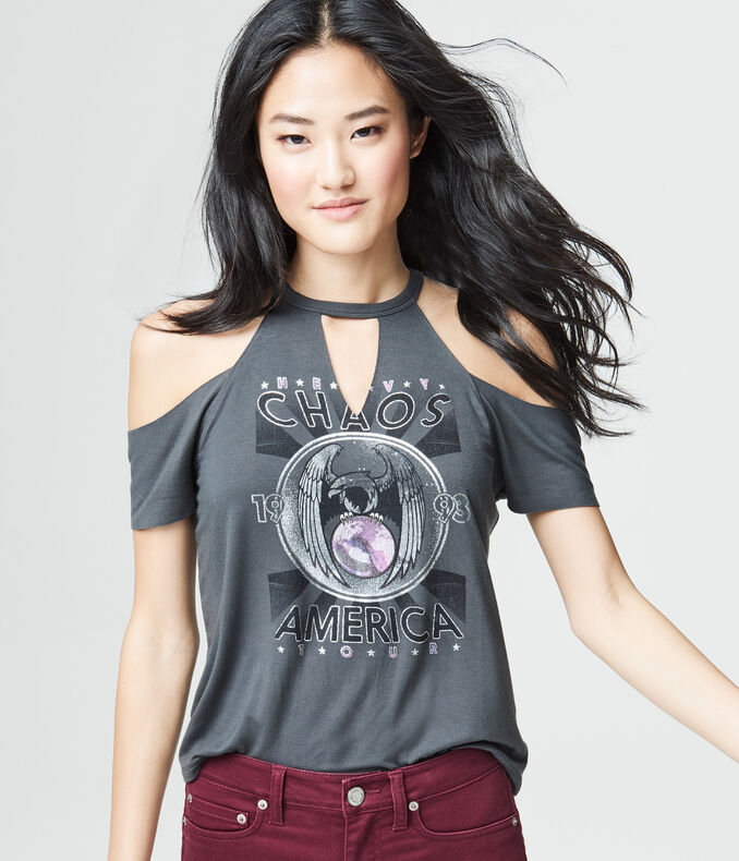 Chaos America Cold-Shoulder Graphic Tee