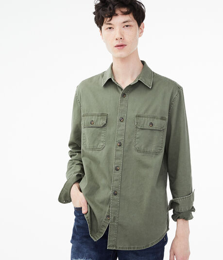 Long Sleeve Workwear Button-Down Shirt***
