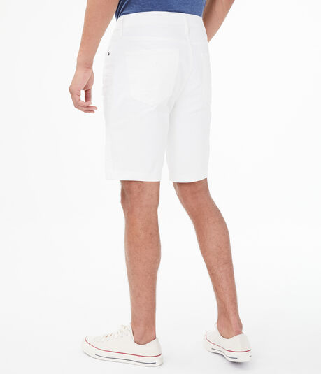 "White Wash Destroyed Stretch 9.5"" Denim Shorts"