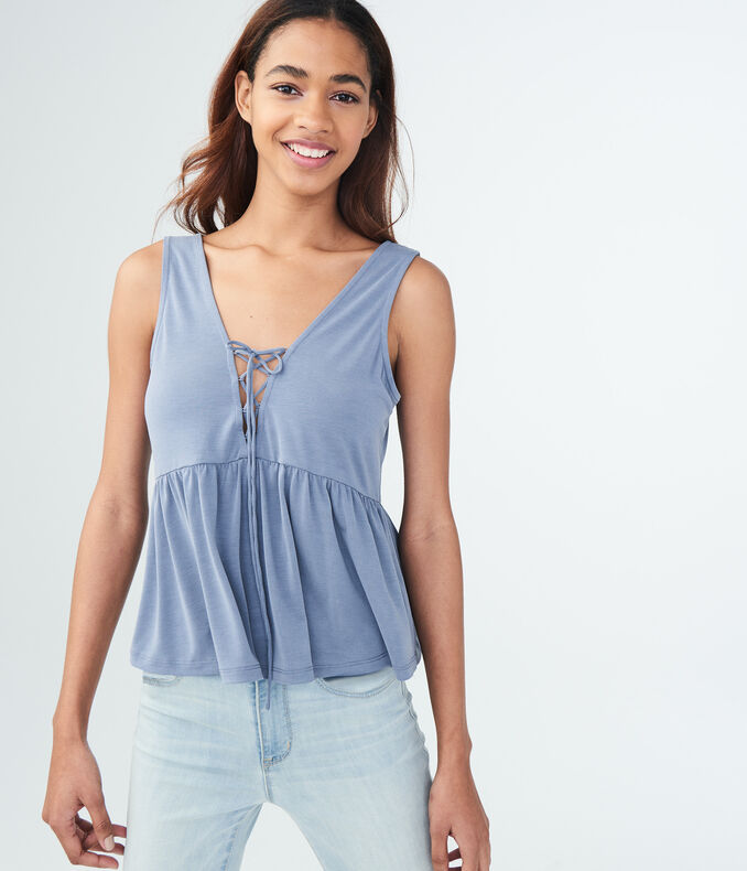 solid-lace-up-peplum-tank by aeropostale