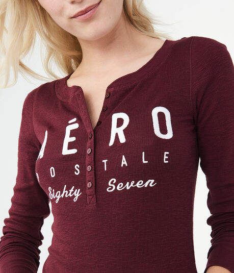 Long Sleeve Aero Eighty Seven Graphic Henley