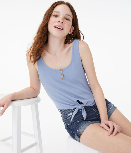 Tie-Front Cropped Henley Tank***