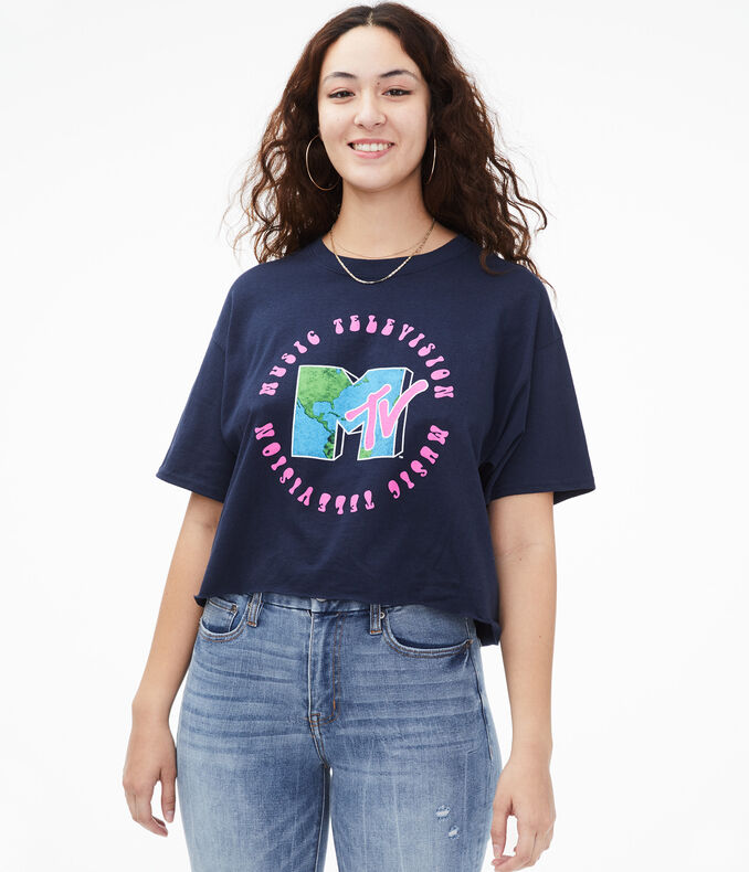 MTV Earth Cropped Graphic Tee