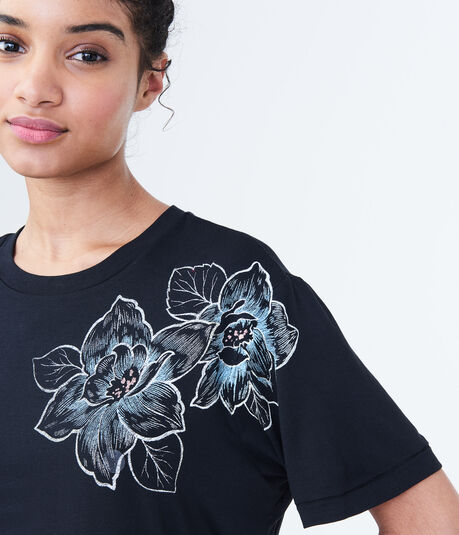 Floral Sketch Boxy Graphic Tee