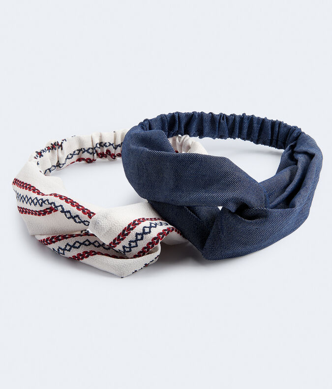 Denim & Embroidery Print Headband 2-Pack