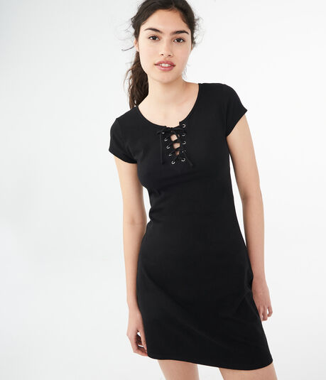 Solid Lace Up A-Line Dress