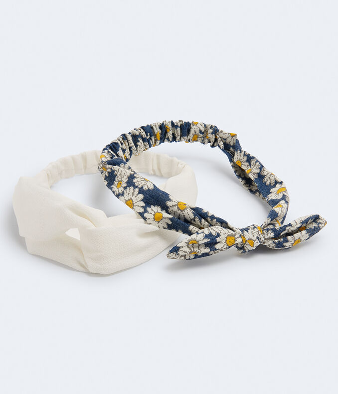 Daisy & Solid Headband 2-Pack