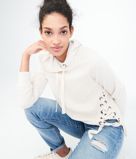 Oversized Lace-Up Pullover Sweatshirt