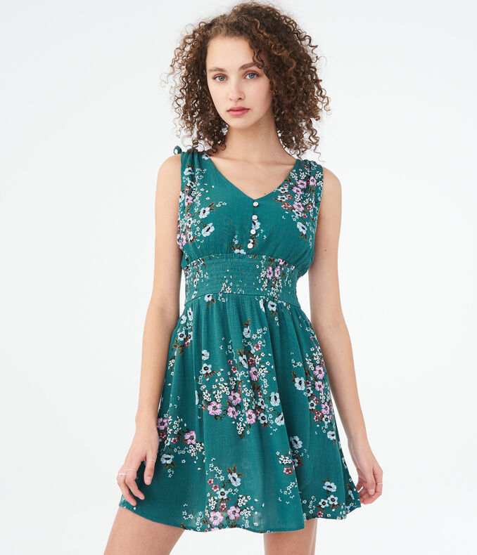 Floral V-Neck Smocked Fit & Flare Dress