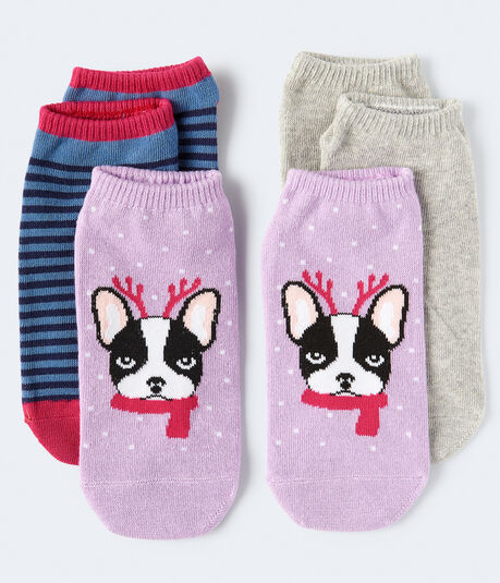 Reindeer Frenchie Ankle Sock 3-Pack