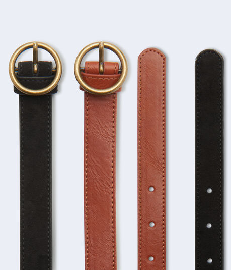 Circle Buckle Belt 2-Pack