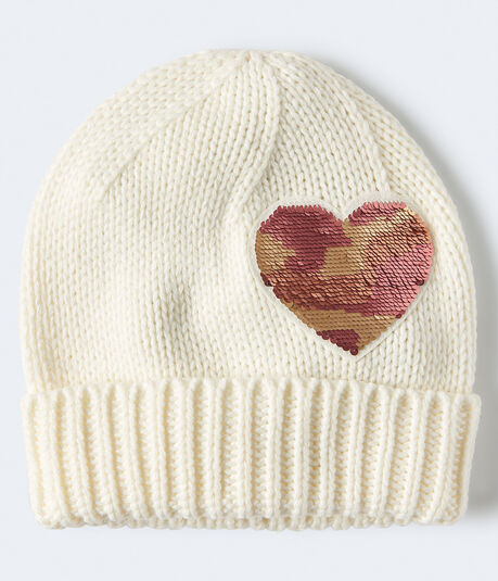 Sequined Heart Beanie