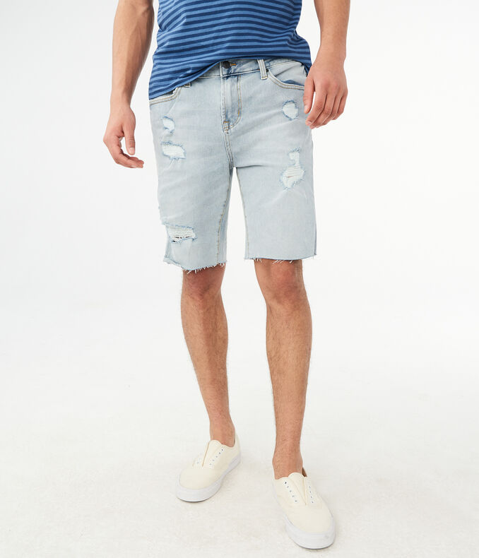 "Flex Effects Bleach Wash Destroyed 9.5"" Denim Cutoff Shorts"