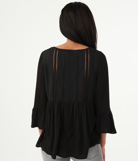 Long Sleeve Lace-Back Tunic Top