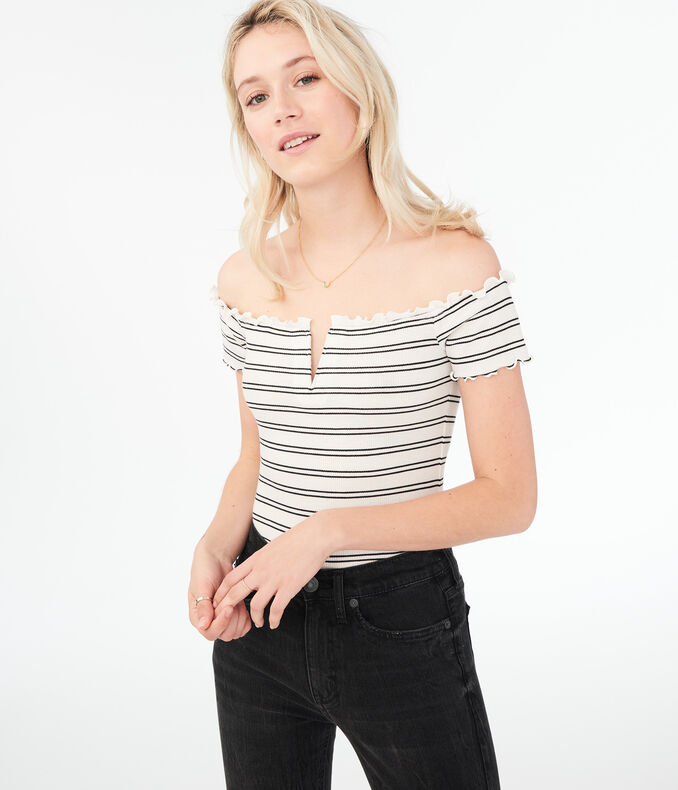 Seriously Soft Striped V-Wire Off-The-Shoulder Top