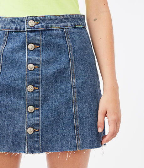 Real Denim High-Rise Buttoned Mini Skirt