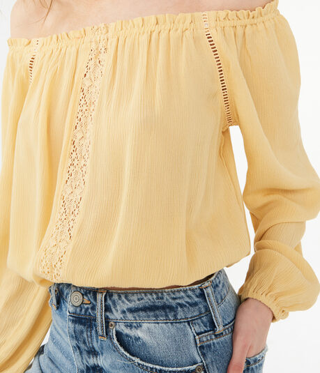 Long Sleeve Lace Inset Off-The-Shoulder Top