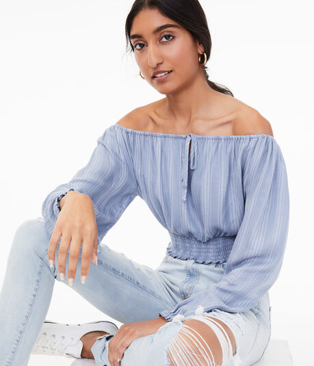 Long Sleeve Striped Off-The-Shoulder Crop Top