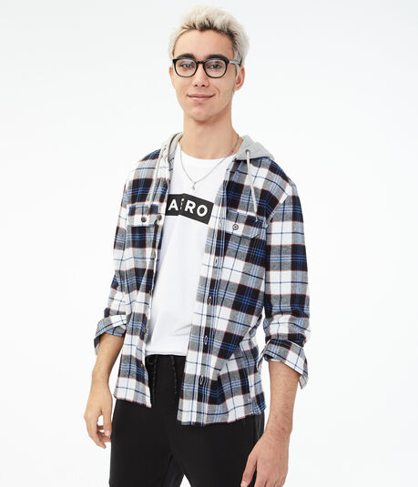 Long Sleeve Plaid Hooded Button-Down Shirt