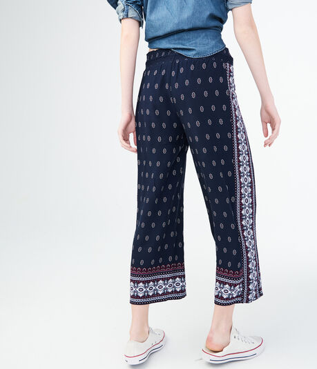Printed Wide-Leg Crop Pants