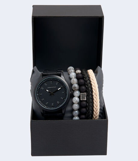 Metal Analog Watch & Bracelet Set