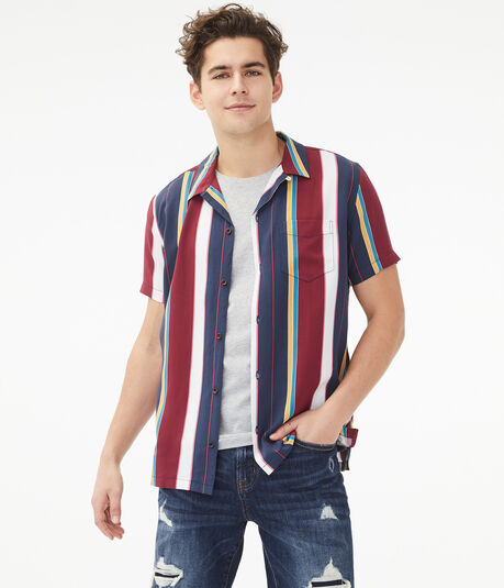 Vertical Stripe Button-Down Resort Shirt