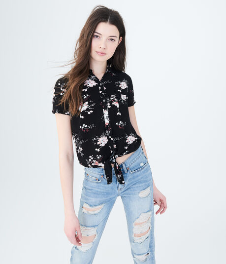 Floral Tie-Front Woven Top