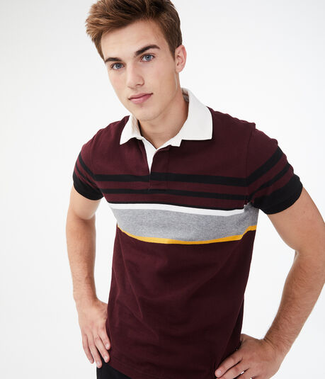 Multi-Stripe Rugby Jersey Polo