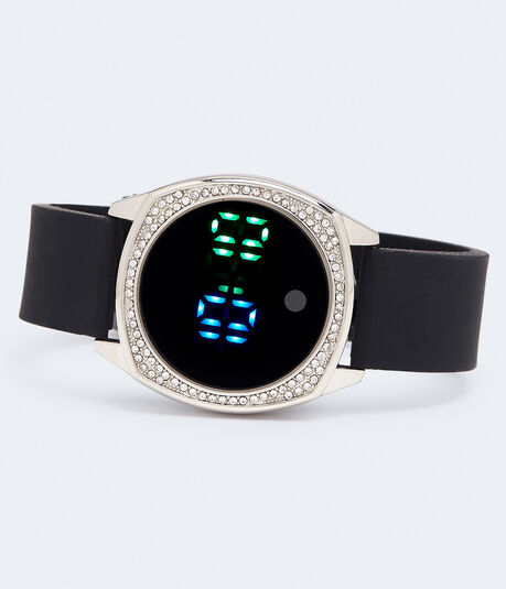 Rhinestone Rubber Digital Watch***