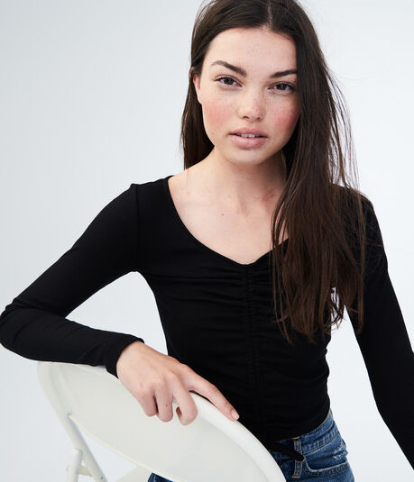 Long Sleeve Solid Ruched Ribbed Top