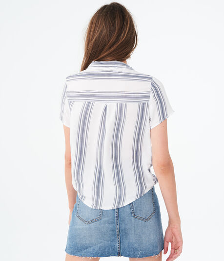 Striped Tie-Front Woven Camp Shirt