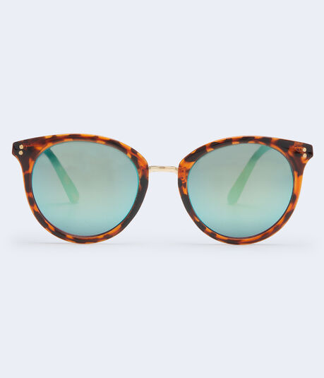 Mirrored Round Tortoiseshell Sunglasses