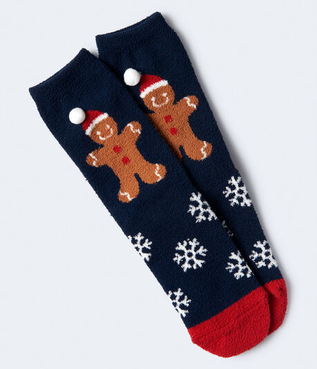 Gingerbread Man Fuzzy Crew Socks