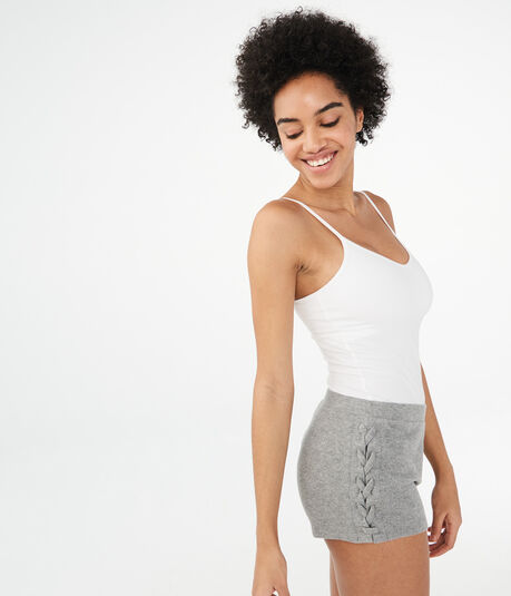 Solid Fuzzy Lace-Up Shorts