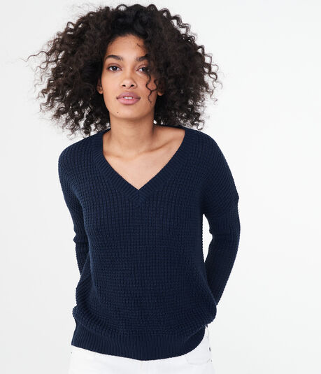 Solid V-Neck Tunic Sweater