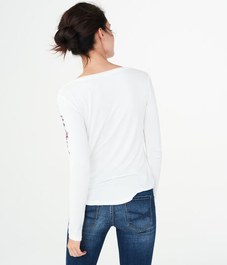 Long Sleeve Seriously Soft Floral Embroidery Tee