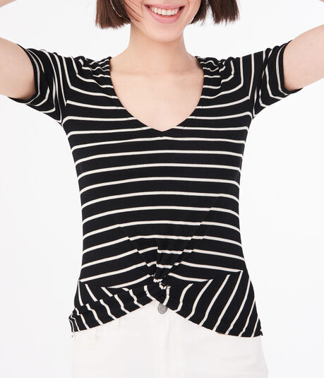 Seriously Soft Striped Twist-Front Top***