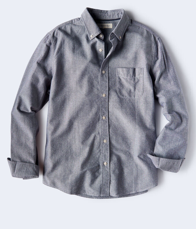 Long Sleeve Solid Oxford Woven Shirt***