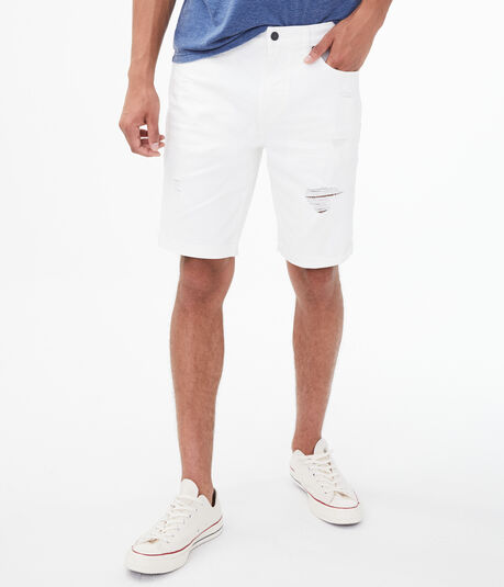 White Wash Destroyed Stretch Denim Shorts