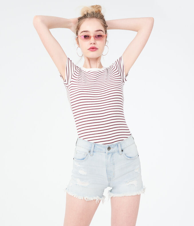 Flex Effects Super High-Waisted Light Wash Denim Midi Shorts
