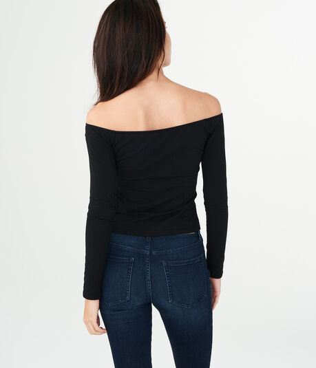 Long Sleeve Off-The-Shoulder Lace-Up Bodycon Top