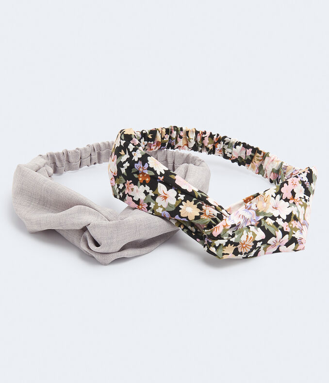 Floral & Crosshatch Twist Headband 2-Pack