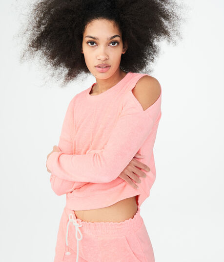 Long Sleeve French Terry Cold-Shoulder Crop Top