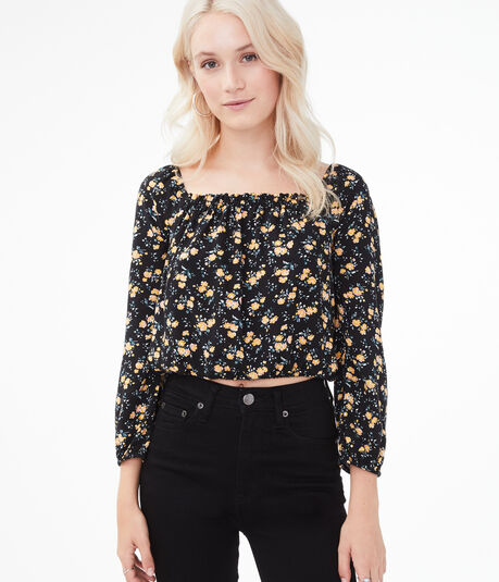 Floral Square-Neck Crop Top