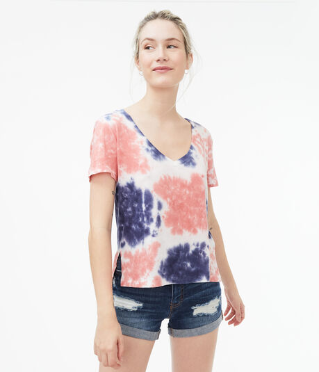Americana Tie-Dye Perfect Cotton V-Neck Tee