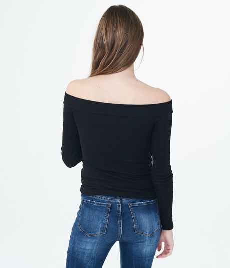 Long Sleeve Solid Ribbed Off-The-Shoulder Top
