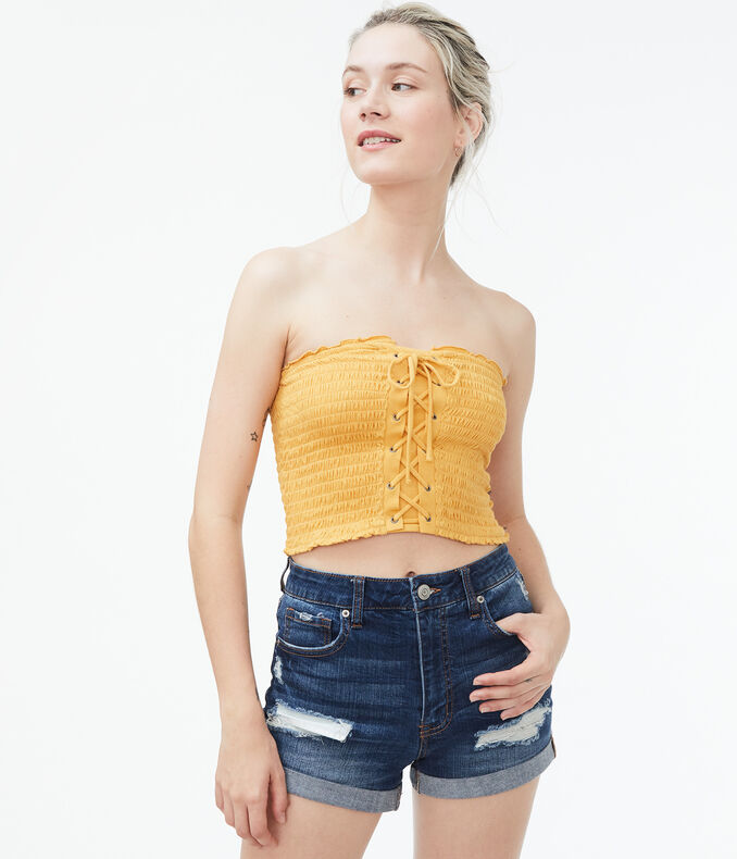 Lace-Up Smocked Cropped Tube Top