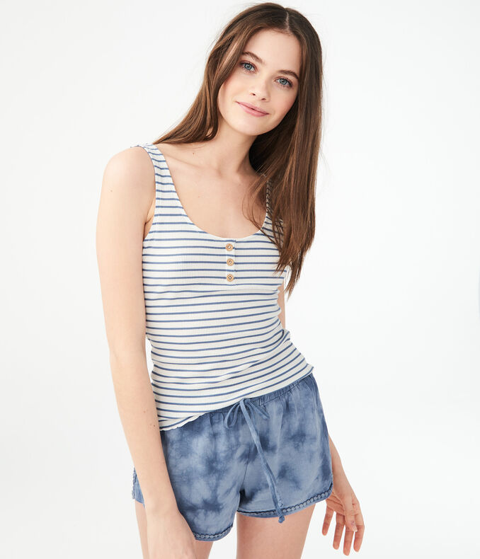 Seriously Soft Striped Henley Bodycon Tank***
